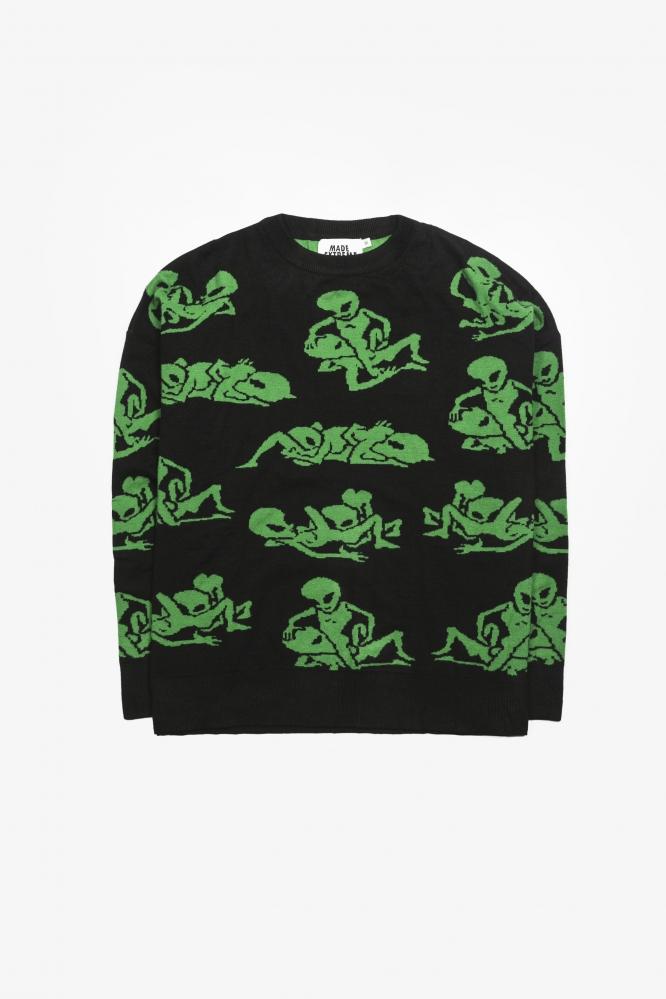 Свитер ALIEN LOVE черно-зеленый
