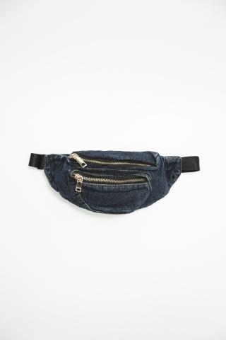 Бананка с двумя карманами джинсовая