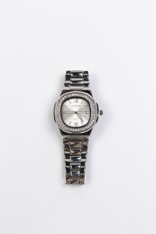 Часы Curdden серебряные со стразами