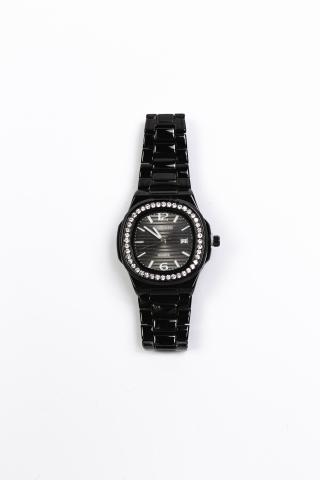 Часы Curdden чёрные со стразами