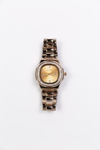 Часы Curdden золотистые со стразами по контуру